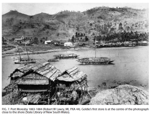 Port Moresby circa 1880. Photo from Page navigation: Memoirs of the Queensland Museum - Culture Volume 6. Andrew Goldie in New Guinea 1875 - 1879: Memoir of a Natural history collector